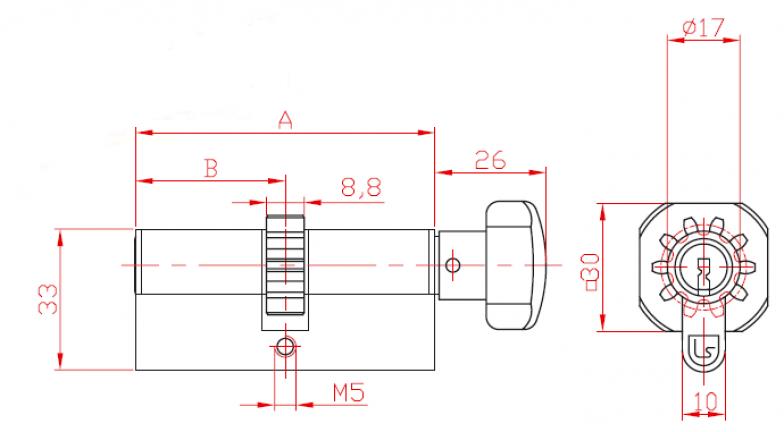 Bilateral Cylinder L29 Cogwheel and Knob