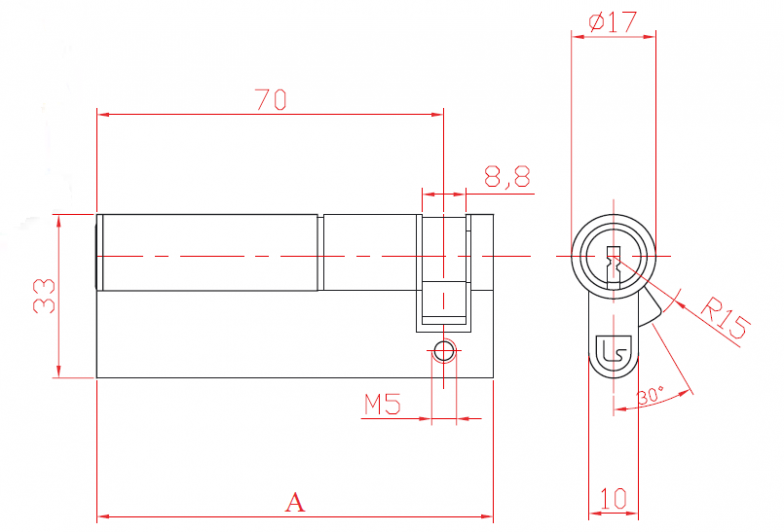 Cylinder Unilateral Half with Cam and Profile Cylinder L52