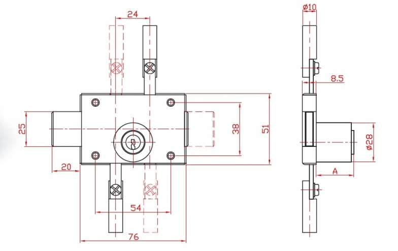 Lock single-motion trilateral