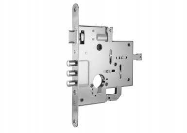 Mortise lock 2005 with aperture for profile cylinder and four points of contact
