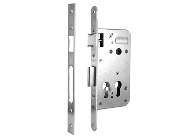 "Mortise locks with apertures for profile cylinders ""Double""along X"