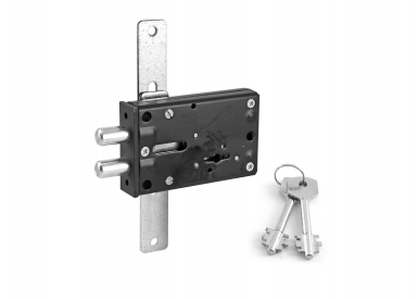 Lock trilateral single-motion for strong-boxes and safety deposit boxe