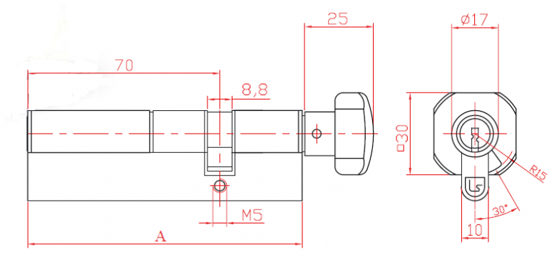 Bilateral Cylinder with Combination L52 with Knob and Cam
