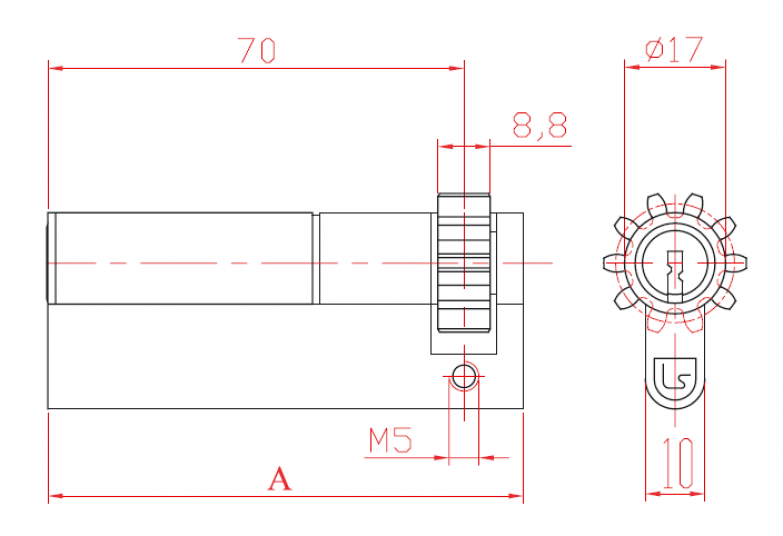 Cylinder Unilateral Half with Cogwheel and Profile Cylinder L52